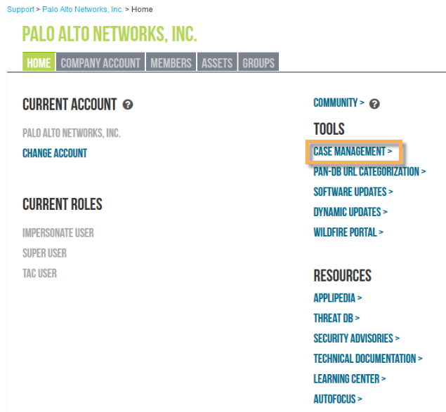 Palo Alto Networks Support Portal showing where the Case Management option is.